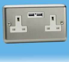 Varilight 2 Gang 13 Amp Un-Switched Electrical USB Plug Socket Brushed Matt Chrome with White Insert